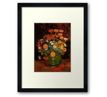 Vase with Zinnias Vincent van Gogh Framed Print