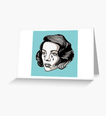 Sad Lady Head Greeting Card