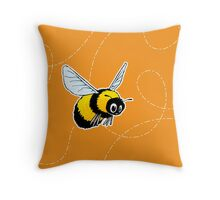 Happily Bumbling Bumble Bee Throw Pillow