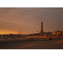 Sunset In Blackpool.. Photographic Print