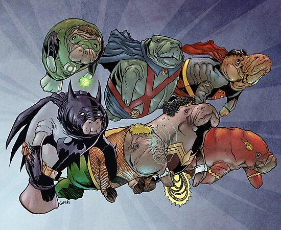 Justice League of Manatees by jomiha
