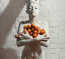 nude, fruit, girl, art, fashion, tangerines by NinaRetoucher