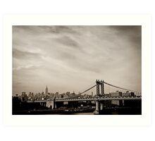 The New York City Skyline and the Manhattan Bridge Art Print