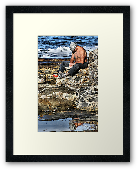 Relaxing - Newcastle Baths NSW Australia by Bev Woodman