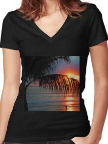 Bali Summer Sunset & Surf Women's Fitted V-Neck T-Shirt