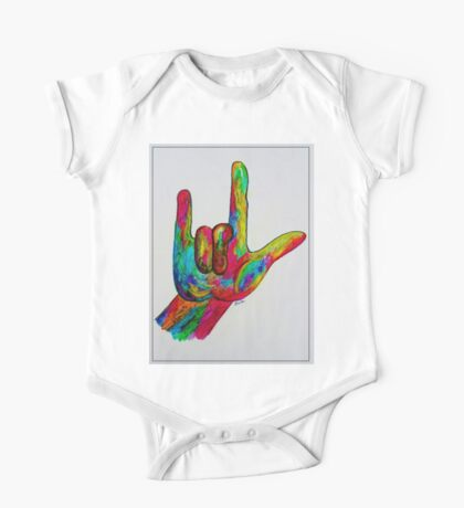 """American Sign Language """"I LOVE YOU"""" with a Border One Piece - Short Sleeve"""