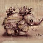 vintage upside down elephants by © Karin  Taylor