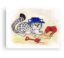 At the beach - baby snow leopard Canvas Print