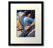 Group of teenagers sitting and drinking tea Framed Print
