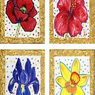 Poppy, Iris, hibiscus, daffodil flowers by didielicious