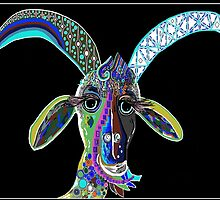CRAZY GOAT on Black Background by EloiseArt
