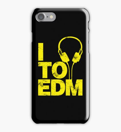 I Listen to EDM (yellow) iPhone Case/Skin