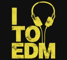 I Listen to EDM (yellow) Kids Tee