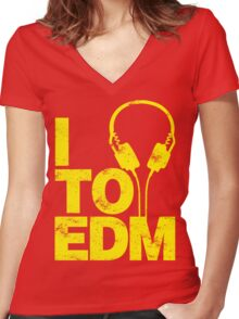 I Listen to EDM (yellow) Women's Fitted V-Neck T-Shirt