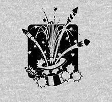 American Symbols, Flag Hat Fireworks-Gray Long Sleeve T-Shirt