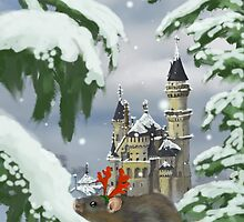 Xmas scene with castle and rat by annewinkler1