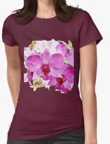 Pink Phalaenopsis - watercolour Womens Fitted T-Shirt