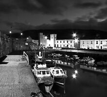 B&W - Carnlough harbour at night.  by Fred Taylor