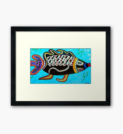 """BANDIT - the fish that """"resurfaced"""" from the flames Framed Print"""