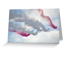 Red Arrows Over Lyme, Dorset Uk -1 Greeting Card