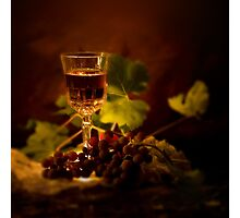 Wine Glass and Grapes Photographic Print