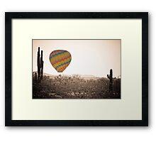 Hot Air Balloon On the AZ Sonoran Desert Sepia Framed Print