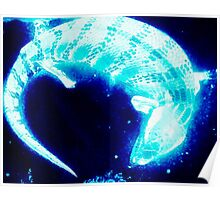 Neon blue blue tongue lizard Poster