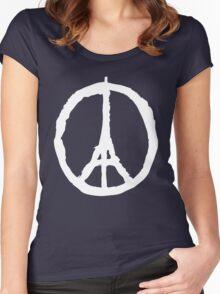 Peace for Paris - white - paix pour Paris - Pray Women's Fitted Scoop T-Shirt