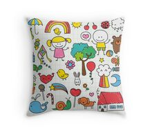 Cute Childrens Drawing Throw Pillow