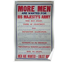 More men are wanted for his majestys army Men are wanted enlist now Poster