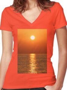 Seaside Sunset Women's Fitted V-Neck T-Shirt