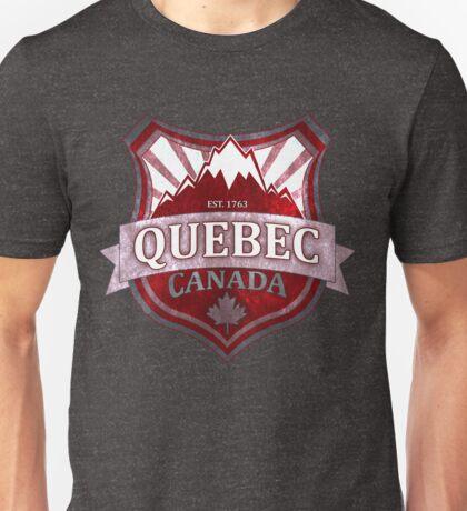 Quebec Canada red grunge shield Unisex T-Shirt