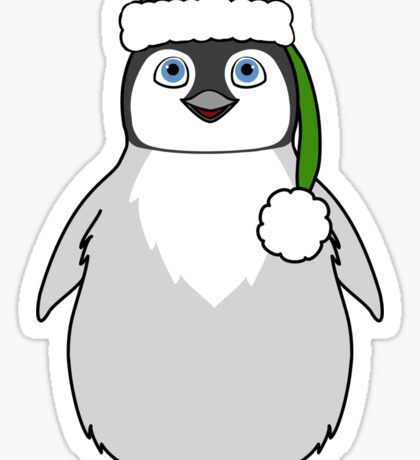 Christmas Penguin with Green Santa Hat Sticker