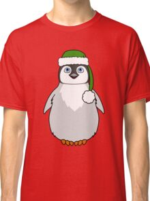 Christmas Penguin with Green Santa Hat Classic T-Shirt