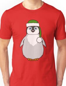 Christmas Penguin with Green Santa Hat Unisex T-Shirt