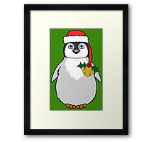 Christmas Penguin with Red Santa Hat, Holly & Gold Jingle Bell Framed Print