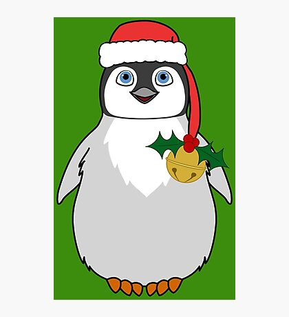 Christmas Penguin with Red Santa Hat, Holly & Gold Jingle Bell Photographic Print