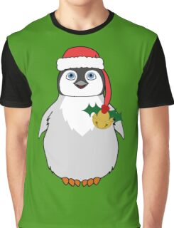Christmas Penguin with Red Santa Hat, Holly & Gold Jingle Bell Graphic T-Shirt