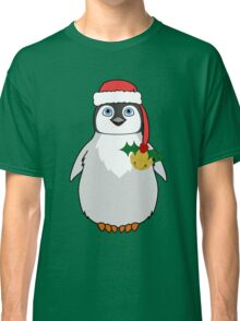 Christmas Penguin with Red Santa Hat, Holly & Gold Jingle Bell Classic T-Shirt