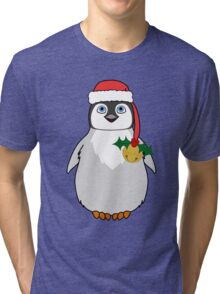 Christmas Penguin with Red Santa Hat, Holly & Gold Jingle Bell Tri-blend T-Shirt