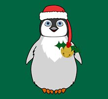 Christmas Penguin with Red Santa Hat, Holly & Gold Jingle Bell T-Shirt