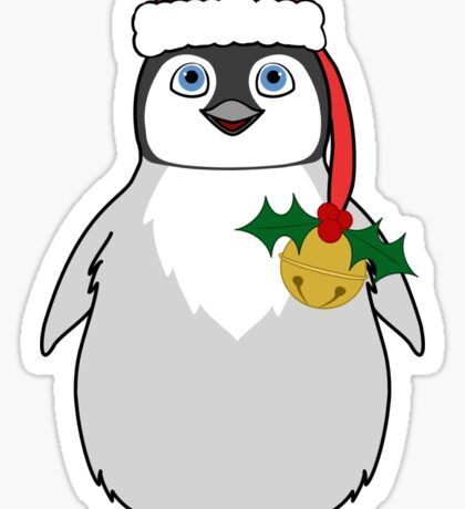 Christmas Penguin with Red Santa Hat, Holly & Gold Jingle Bell Sticker