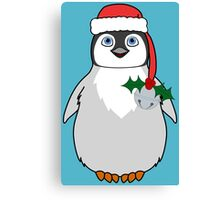 Christmas Penguin with Red Santa Hat, Holly & Silver Jingle Bell Canvas Print