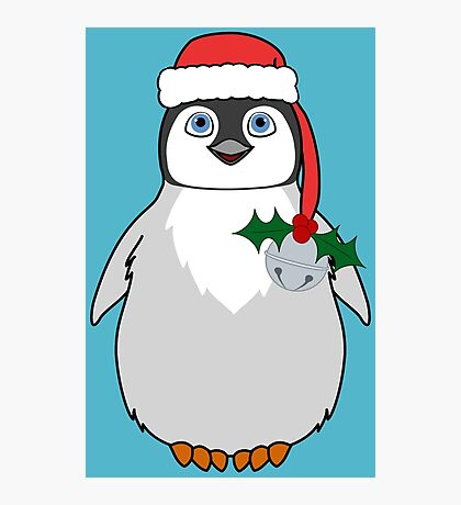 Christmas Penguin with Red Santa Hat, Holly & Silver Jingle Bell Photographic Print