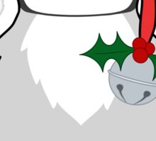 Christmas Penguin with Red Santa Hat, Holly & Silver Jingle Bell Sticker