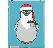 Christmas Penguin with Red Santa Hat, Holly & Silver Jingle Bell iPad Case/Skin