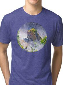 Rocks emerging from a raging waterfall Tri-blend T-Shirt