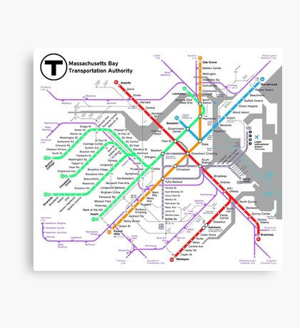 MBTA Boston Subway - The T (light background) Canvas Print