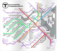 MBTA Boston Subway - The T (light background) Poster