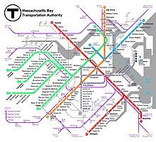 MBTA Boston Subway - The T (light background) Photographic Print
